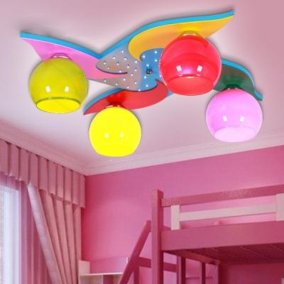 Color Orb Shade Light Fixture Creative Windmill LED Ceiling Mount Light for Kindergarten