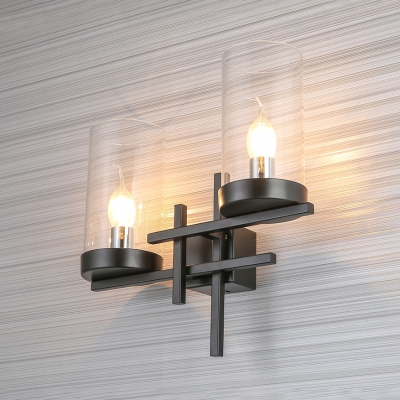 Cylinder Glass Shade Wall Light Industrial 2-Light Hallway Wall Sconce in Black