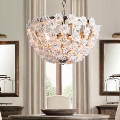 Decorative Dome Shape Chandelier with Flower Metal 3 Lights Gold/Silver Pendant Lighting for Bedroom