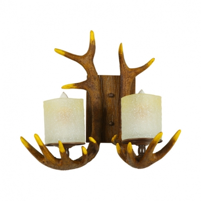 Deer Horn Dining Room Wall Sconce Frosted Glass 2 Lights Antique Style Wall Light