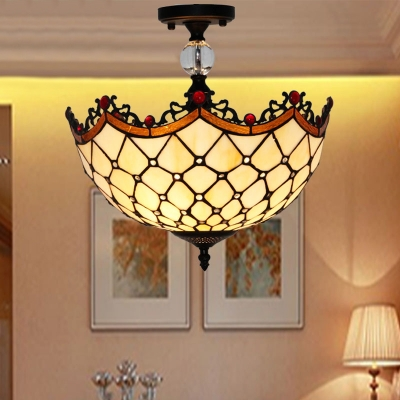 Dining Room Dome Ceiling Lamp Glass Tiffany Style Rustic Beige Semi Flush Mount Light