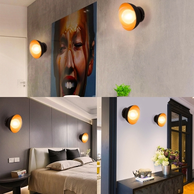 Domed Shape Bedroom Dining Room Wall Lamp Glass Single Light Contemporary Wall Light
