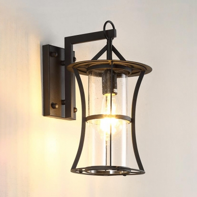 Glass Rectangle/Pillar Wall Light Outdoor Single Light Vintage Wall Sconce in Black