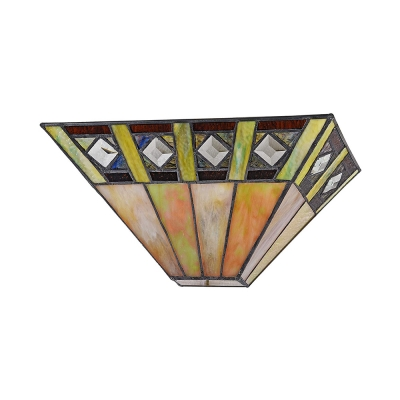 Up Lighting Tiffany Style Wall Light Glass Wall Sconce with Multi Color for Bedroom Living Room