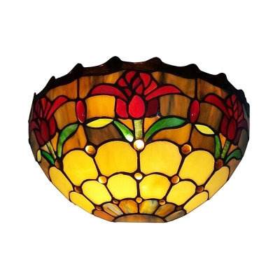 Tiffany Style Flower Pattern Wall Lamp Glass Shade Sconce Light with Multi Color for Bedroom Shop