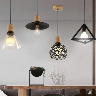 Industrial Cone/Flared Pendant Lighting Single Light Black Pendant Lamp for Kitchen
