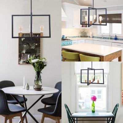 Industrial Rectangle Chandelier 4 Lights Metal Hanging Light in Black for Kitchen Dining Room