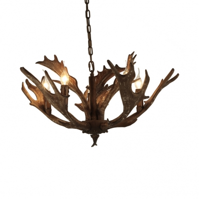 Living Room Antlers Decoration Chandelier Light Resin 5 Lights Antique Style Hanging Light
