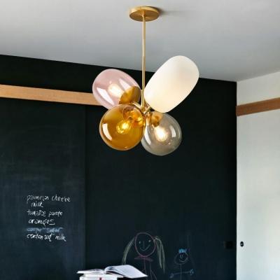 Living Room Balloon Globe Hanging Light Metal and Glass 4 Lights Modern Multi Color Chandelier
