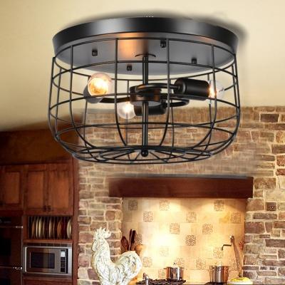 Metal Cage Flush Light Hallway Triple Light Industrial Rustic Ceiling Light in Black