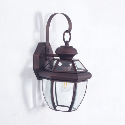 Outdoor Indoor Down Lighting Sconce Light Metal Clear Glass 1 Light Traditional Rust Wall Light