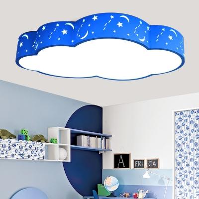 Pink/Blue Cloud Shape Ceiling Light Cute Acrylic Flush Mount Light for Boy Girl Bedroom