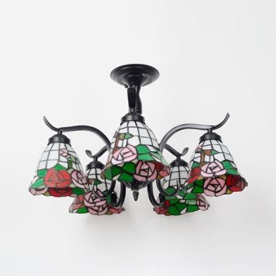 Restaurant Tiffany Style Ceiling Fixture Glass 5 Lights Leaf/Blue/Baroque/Rose Semi Ceiling Mount Light