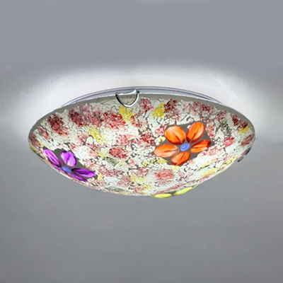Rustic Purple/Pink Ceiling Light Round Stained Glass for Living Room