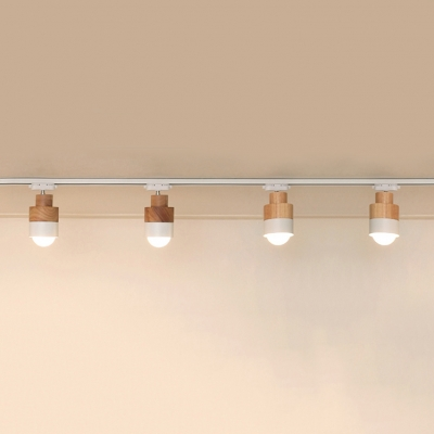 Simple Style Rotatable LED Ceiling Light 3/4 Lights Wood Track Lighting for Living Room