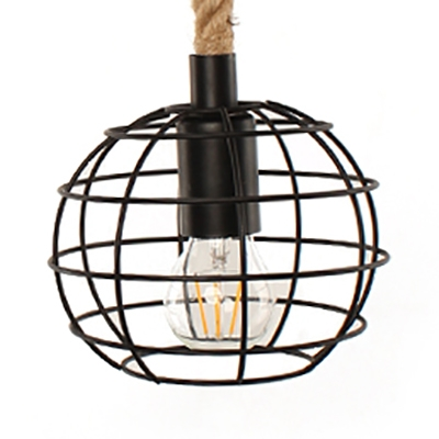 Single Light Globe Cage Hanging Lamp Vintage Style Metal and Rope Pendant Light in Black for Kitchen