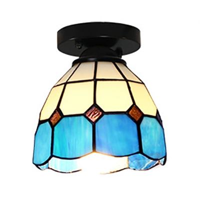 Tiffany Style Cone Ceiling Light 1 Light Stained Glass Flush Mount Light for Bedroom