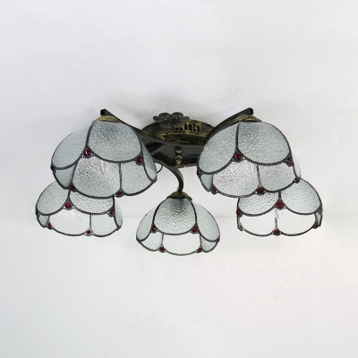 Tiffany Style Dome Ceiling Fixture 5 Lights Clear/Yellow/Blue Glass Semi Flush Mount Light