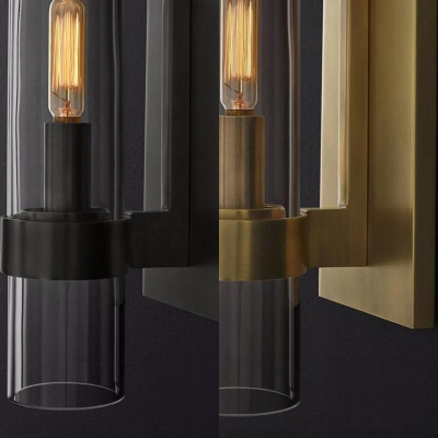 Traditional Cylinder Shade Wall Lamp 1 Light Metal and Glass Sconce Light in Black/Brass for Bathroom