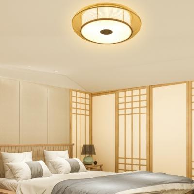 Wood/Black Round Ceiling Light 3/4 Lights Contemporary Bamboo Flush Mount Light for Dining Room Foyer