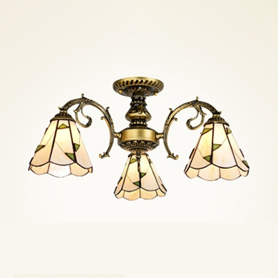 3 Lights Cone Ceiling Lamp Tiffany Style Rustic Glass Semi Flush Mount in Aged Brass/White for Study