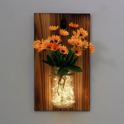 Beautiful String Light Wood and Glass Wall String Light with Jar and White/Yellow/Orange Flower