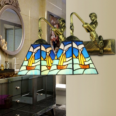 Antique Style Boat Wall Light with Mermaid 2 Lights Stained Glass Wall Lamp for Bedroom