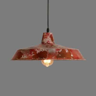 Barn Pendant Lighting Kitchen Farmhouse Rustic Metallic Hanging Ceiling Light in Red with Adjustable Cord