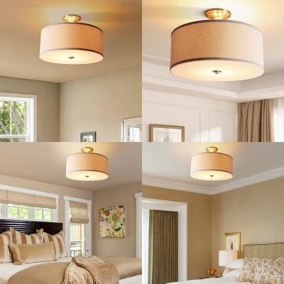Bedroom Drum Semi Flush Mount Light Fabric 3/4 Lights Contemporary White Ceiling Light