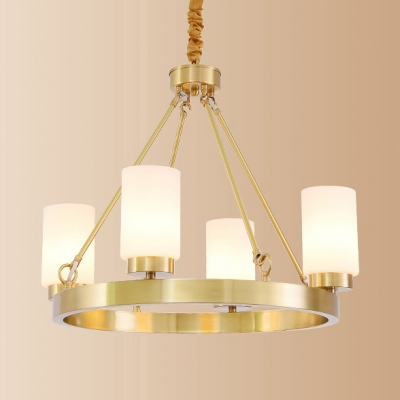 Dining Room Round Chandelier Metal Frosted Glass 4/6 Lights Elegant Style Gold Pendant Light