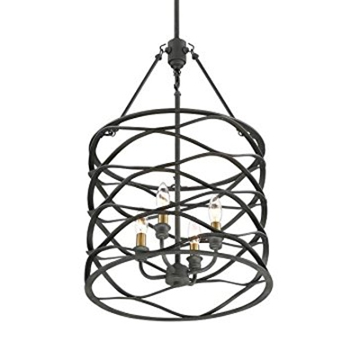 Drum Ceiling Lighting Fixture with Candle 4 Lights Vintage Metal Pendant Lighting in Brass