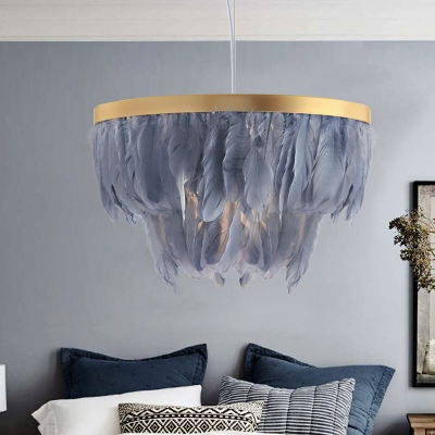European Style Chandelier with White/Gray Feather Single Light Metal Pendant Lighting for Hotel