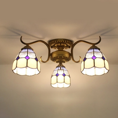 Glass Conical Semi Flush Ceiling Light Living Room 3 Lights Tiffany Style Ceiling Lamp in Yellow/Blue