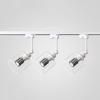 Industrial Black/Rust/White Ceiling Light with Cage 1 Head LED Track Lighting for Cafe Restaurant
