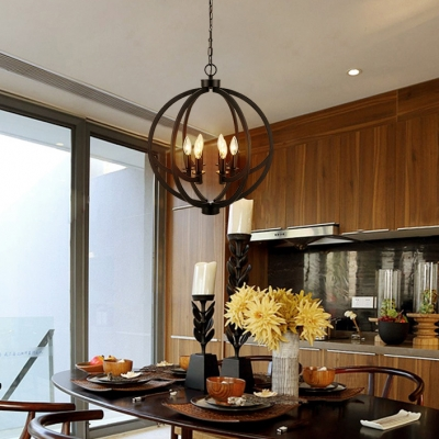 Metal Candle Ceiling Light 6 Lights Industrial Style Chandelier in Black for Dining Room