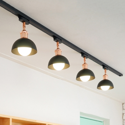 Metal Dome LED Ceiling Light 4 Heads Industrial Rotatable Track Light in Black/White for Bar