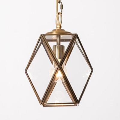 Metal Glass Polyhedron Pendant Light Dining Room Shop 1 Light Industrial Hanging Light in Gold