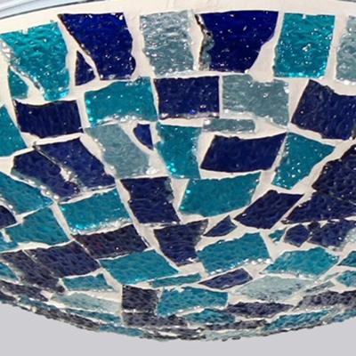 Mosaic Bowl Shape Ceiling Light Single Light Glass Flush Mount Light in Blue for Bedroom