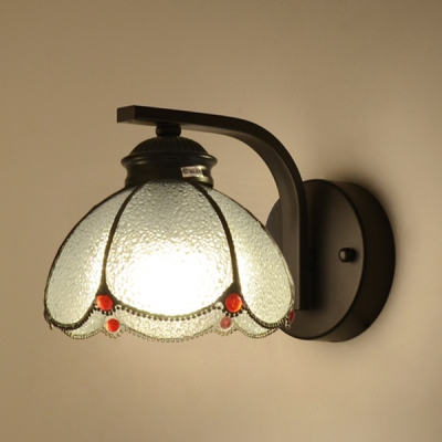 One Light Dome Wall Light Simple Style Dimple Glass Wall Sconce for Living Room Shop