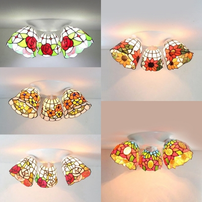Rustic Style Flush Ceiling Light 3 Lights Stained Glass Flower Ceiling Lamp for Hotel