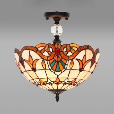 Stained Glass Dome Ceiling Fixture 3/4 Lights Tiffany Style Baroque Semi Ceiling Mount Light for Bedroom