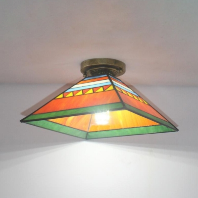 Tiffany Style Trapezoid Flush Light Stained Glass 1 Light Pink/Orange Ceiling Light for Child Bedroom