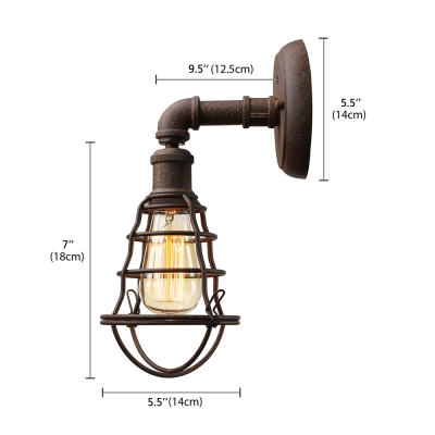 Vintage Loft Industrial Wall Sconce with Metal Cage Frame in Rust Finish