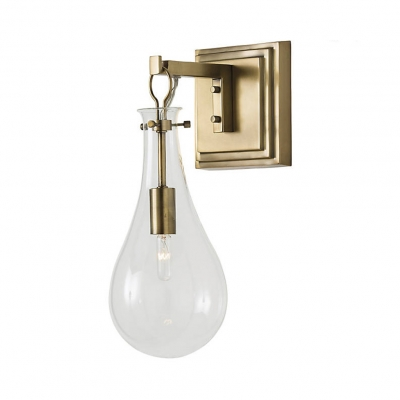 Vintage Style Brass Wall Light with Bulb Shade 1 Light Metal and Glass Sconce Wall Lamp