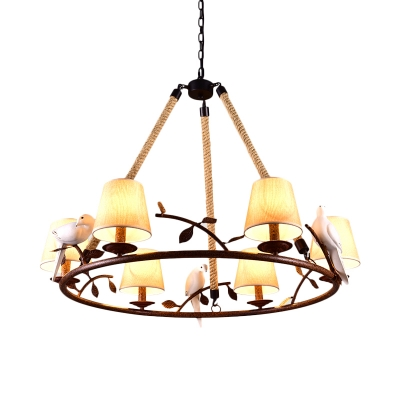 Vintage Style Ring Chandelier with Tapered Shade and Bird Decoration 3/6 Lights Metal and Fabric Pendant Light