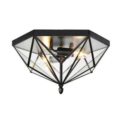 2 Lights Geometric Flush Light with Clear Glass Panel Industrial Ceiling Lighting Fixture in Black
