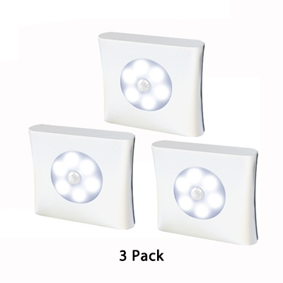 3/6 Pack Stick Anywhere Cabinet Lighting Battery Powered Infrared Sensing and Auto Dusk to Dawn Sensing 6 LED Closet Lighting in White/Warm