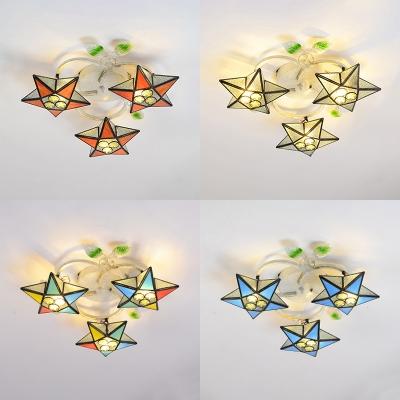 3 Heads Star Flush Mount Light Mediterranean Style Glass Ceiling Lamp for Living Room