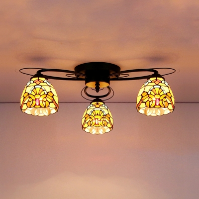 3 Lights Down Lighting Ceiling Light Rustic Style Glass Semi Ceiling Mount Lamp for Bedroom