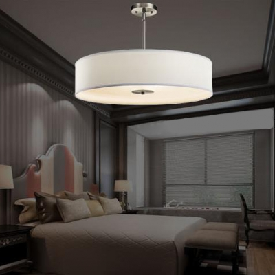 4 Lights Round Semi Flush Mount Light Modern Style Fabric Ceiling Lamp in White for Study Room